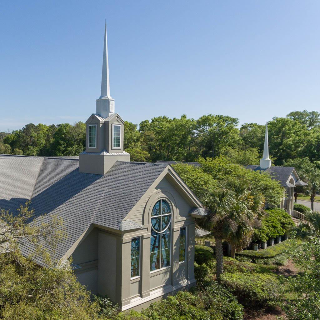 Sea Island Presbyterian Church campus - showing steeples